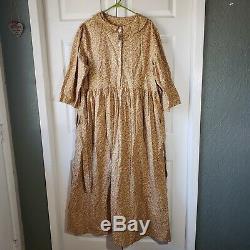 XL handmade mustard floral prairie pioneer a-line peter pan collar dress vintage
