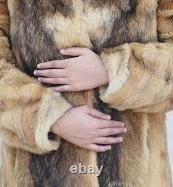 XL mens man SUPREME QUALITY! Real HANDSOME plush COYOTE FUR COAT Chest 38 (88)