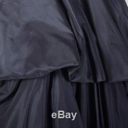 XS 1950s Dress Navy Blue Taffeta Ful A-line Red Tartan Plaid Skirt Pinup 50s VTG
