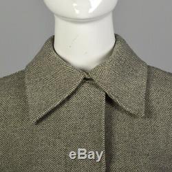 XS 1960s Gray Ivory Herringbone Blanket Coat A-line Italian Wool Pattern 60s VTG