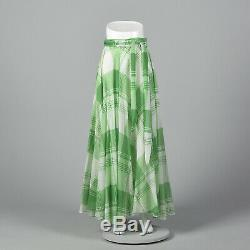 XS 1970S Green Circle Skirt Plaid Vintage Maxi Full Length Long Lined