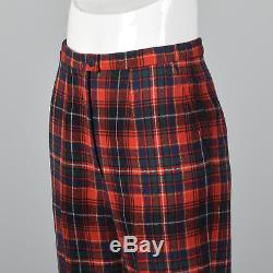 XS 1970s Pendleton Wool Plaid Pants Vintage Red Flat Front Lined Tapered Leg