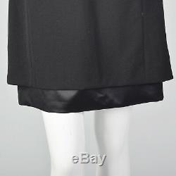 XS Deadstock Louis Feraud Black Dress Wool VTG 1990s Long Sleeve Silk Lined