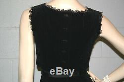 XSS Black Velvet Vtg 1950s LBD Dress Pencil Skirt Bodice Overlay Maggi Stover