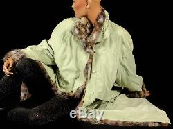 XXL Hellgrün Belseta Mantel mit Pelzfutter Bunt Opossum Pelz fur lined coat grün