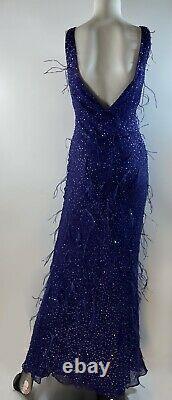 Y2K NWT Vintage 100% Silk Purple Sue Wong Nocturne Gown Dress Feathers Sz 6