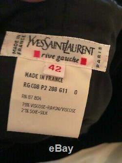 Yves Saint Laurent 70's Rive Gauche Velvet Evening Dress w Sequins & High Slit